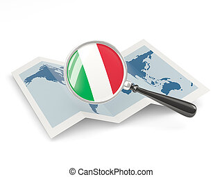 Magnified flag of italy with map