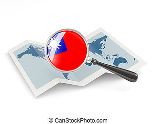 Magnified flag of republic of china with map