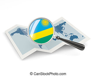 Magnified flag of rwanda with map