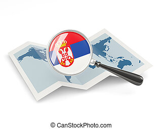 Magnified flag of serbia with map
