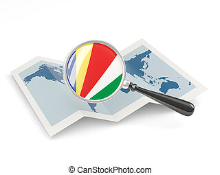 Magnified flag of seychelles with map
