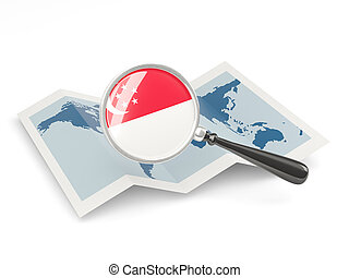 Magnified flag of singapore with map