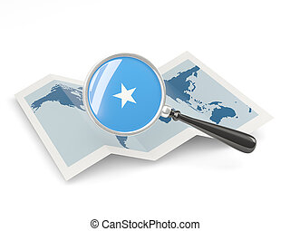 Magnified flag of somalia with map