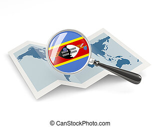 Magnified flag of swaziland with map