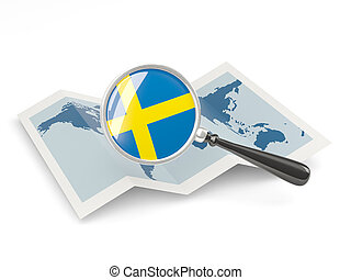 Magnified flag of sweden with map