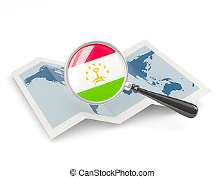 Magnified flag of tajikistan with map