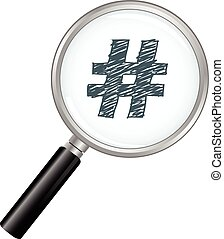 Magnifying glass with a hash tag.