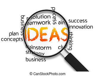 Magnified Ideas word illustration on white background.