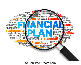 Financial Plan - Magnified illustration with the word...