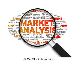 Magnified illustration with the word Market Analysis on white background.