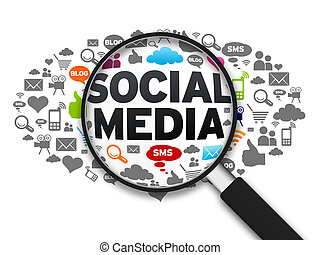 Social Media - Magnified illustration with the word Social...