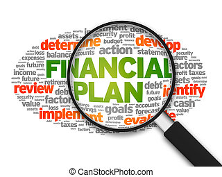 Financial Plan - Magnified illustration with the words ...