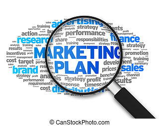 Marketing Plan - Magnified illustration with the words ...