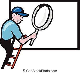 magnifier, échelle, panneau affichage, dessin animé, ouvrier, verre