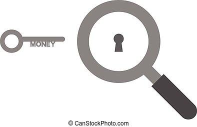 magnifier, キー, お金