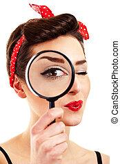 magnifier, 白, 女, 背景