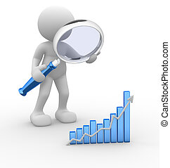 3d people - man, person with a graph financial and a magnifier. Concept of search