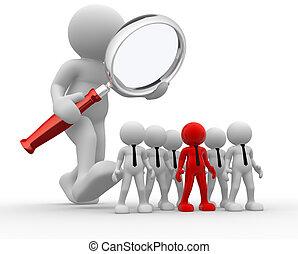Magnifier - 3d people - man, person with a magnifier. Audit...