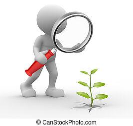 Magnifier; - 3d people - man, person with a magnifying glass...