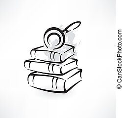 magnifier and books grunge icon