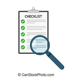 Magnifier and checklist icon. Vector illustration.