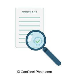 Magnifier and contract icon. Vector illustration
