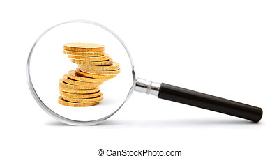 Magnifier and gold coins. On a white background.