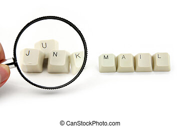 concept of junk mail - magnifier and keys, concept of junk ...