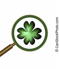 magnifier and shamrock