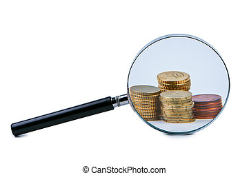 Magnifier and stack of coins isolated.