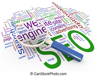 Magnifying glass focus on word 'engine' on background of SEO wordcloud.