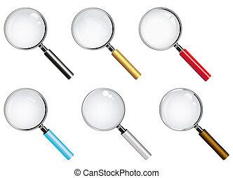 magnifier, collection, lunettes