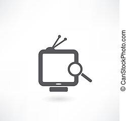 magnifier, e, tv, branco, experiência., isolado, 3d, imagem