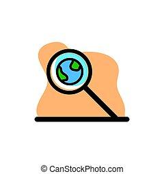 Magnifier Earth Vector Icon Illustration Design Conceptual