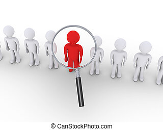 3d people in a row and one is zoomed by magnifier