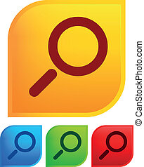 Magnifier glass icons with backgrou