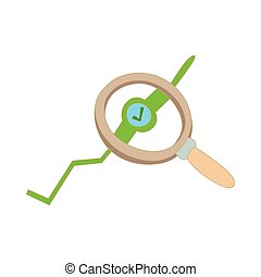 Magnifier icon, cartoon style