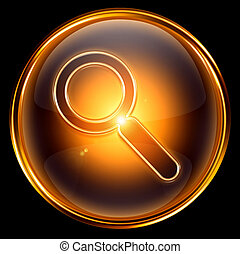 magnifier icon gold, isolated on black background