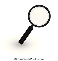 magnifier icon, hand magnifying glass black and white vector illustration in simple flat design