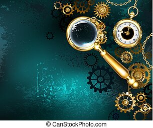 Magnifier in steampunk style - An antique magnifying glass ...
