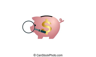 Magnifier is searching for a piggy Bank with a dollar sign on a white background