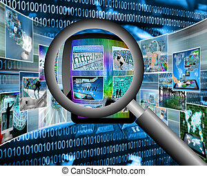 magnifier - Many abstract images on the theme of computers,...