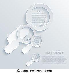 magnifier, moderne, vecteur, lumière, arrière-plan., verre