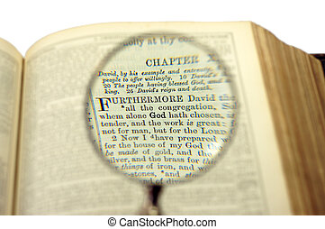 Magnifier on a bible page