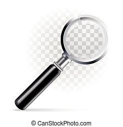 Magnifier on a transparent background. Vector illustration