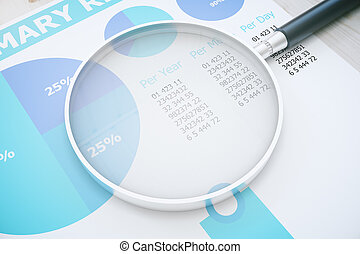 Magnifier on blue business report