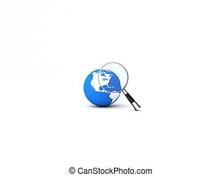 magnifier on globe