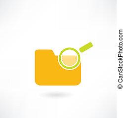 magnifier, pasta, sob, ícone, papeis