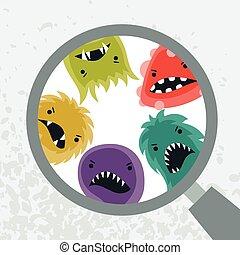 magnifier., pequeno, vírus, zangado, fundo