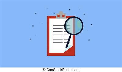 magnifier, presse-papiers, liste contrôle, animation, ...